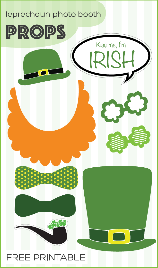 free printable leprechaun st. patrick's day photo booth props