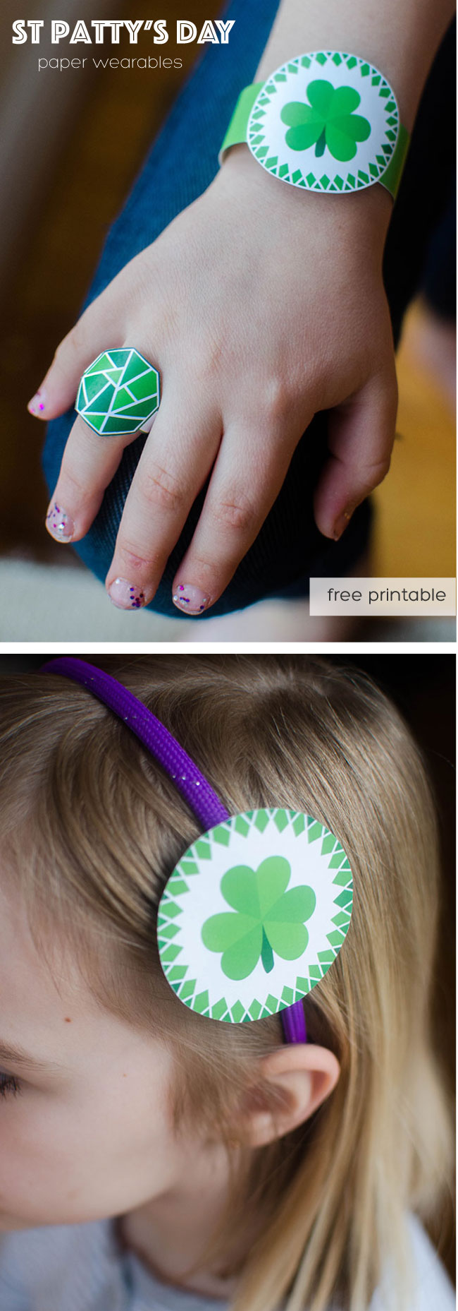 printable paper ring, bracelet and headband fastener for St. patrick's day