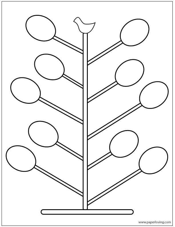 Easter egg tree coloring page free printable