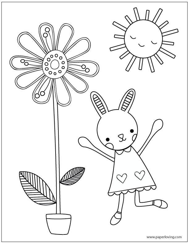 Spring Or Easter Coloring Sheet With Bunny Rabbit