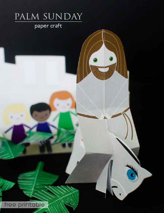 Palm Sunday paper craft: Jesus riding donkey with palms.  Free Printable from www.paperloving.com