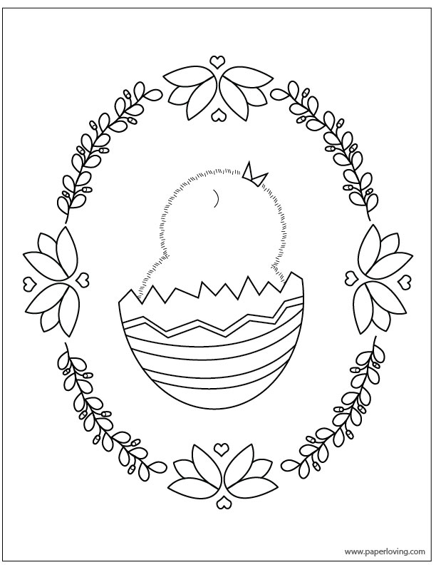 Spring chick coloring page free download
