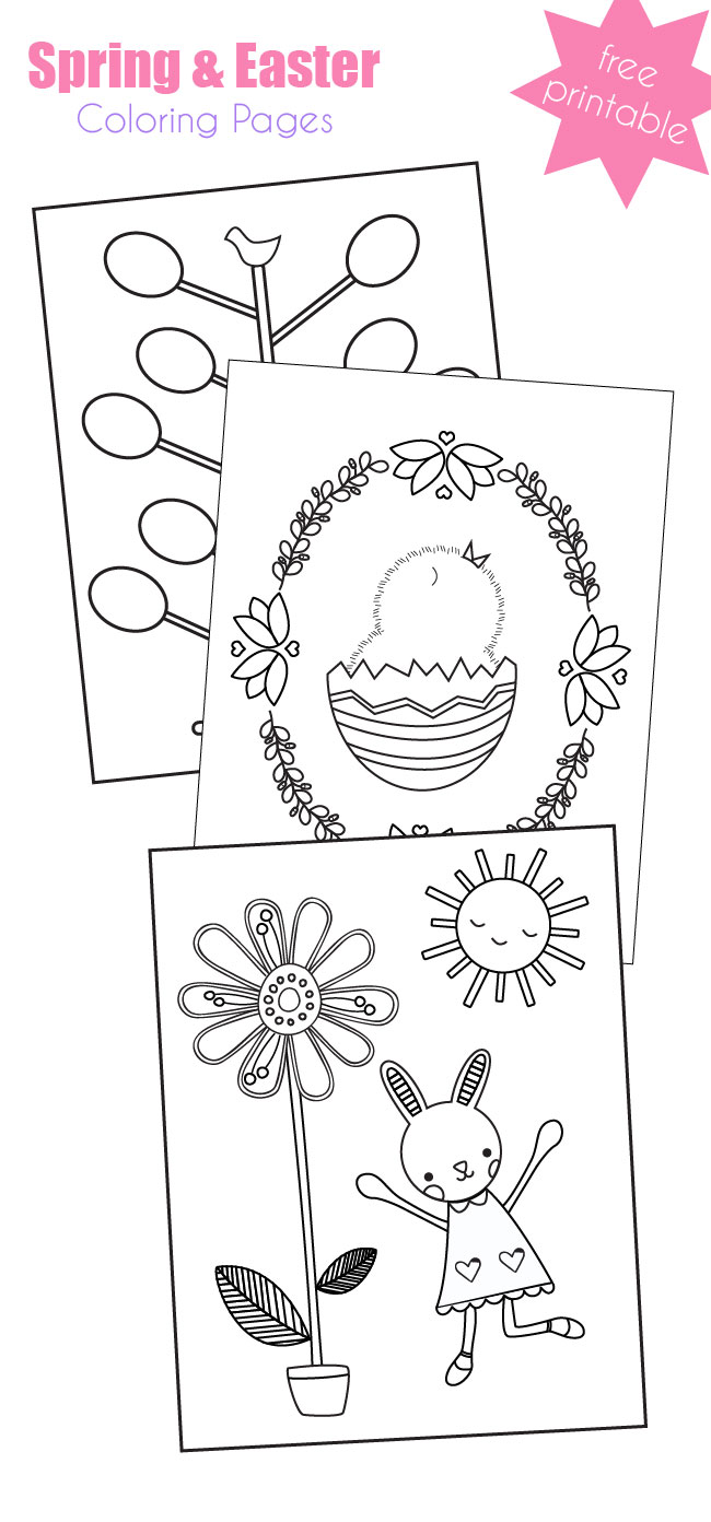 Free Printable Spring or Easter Coloring Pages: Egg Tree, Spring Chick, and Happy Bunny