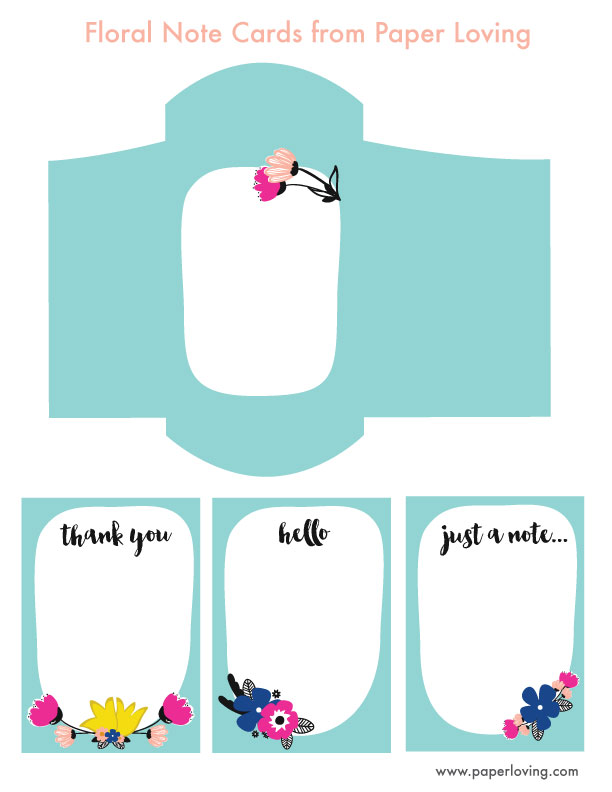 printable floral note cards with envelope from wwwpaperlovngcom - Printable Note Cards