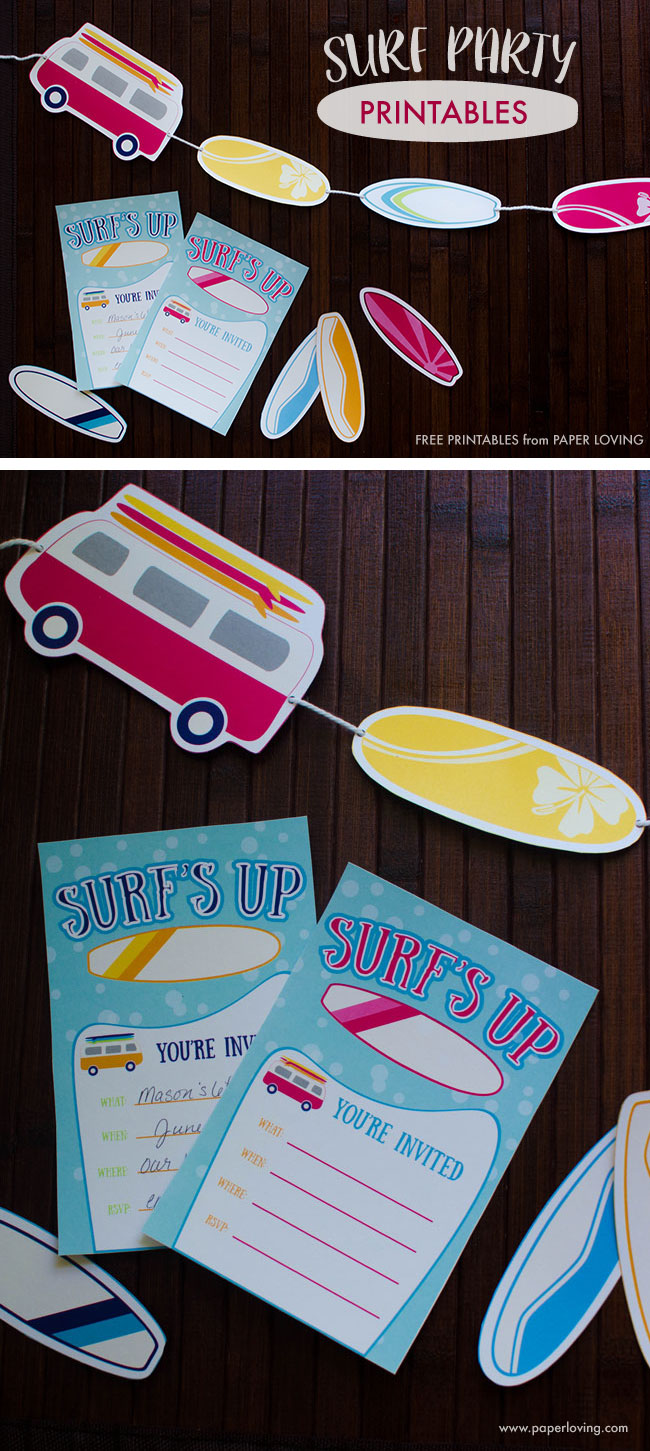 Surf party printable invitations, surf boards, and vans